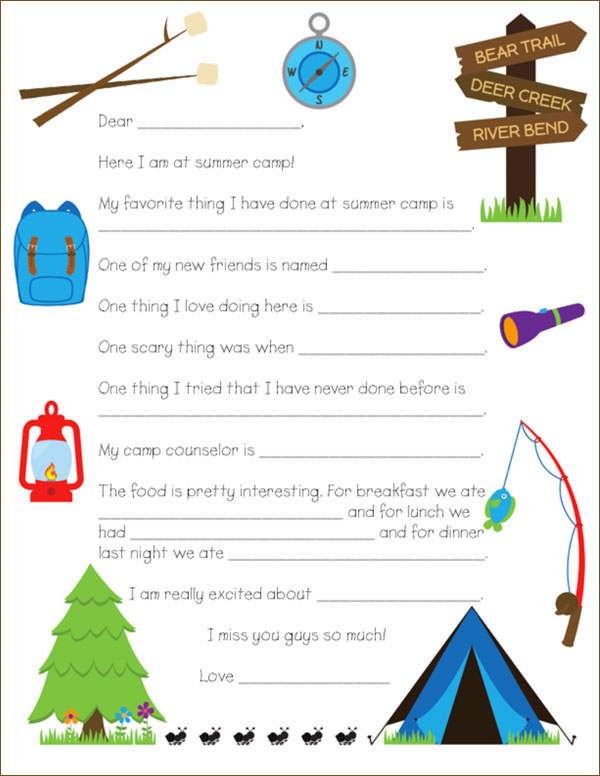 photo relating to Printable Fill in the Blank Camp Letters titled Printable Camp Letter Template Existing Blog site